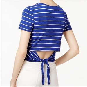 Kensie Women's Blue & White Cut Out Back W/Tie Top